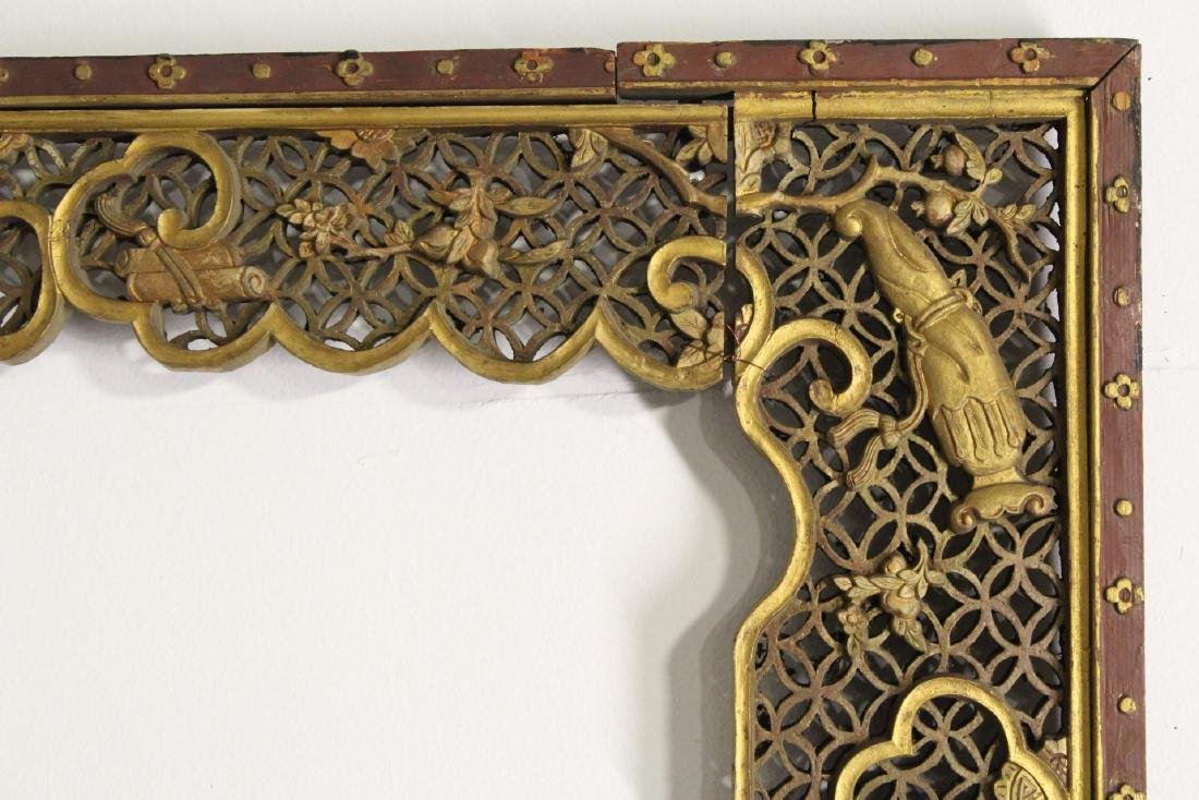 Chinese 19th c. gilt wood carved entry way ornament - 5
