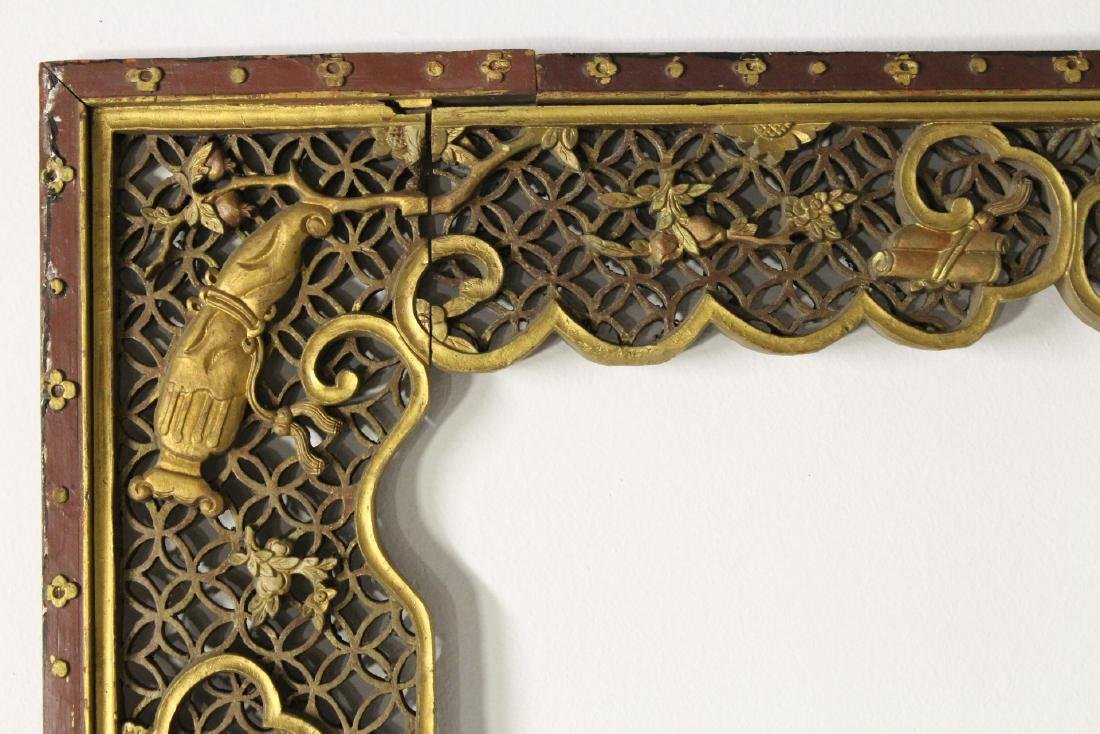 Chinese 19th c. gilt wood carved entry way ornament - 6