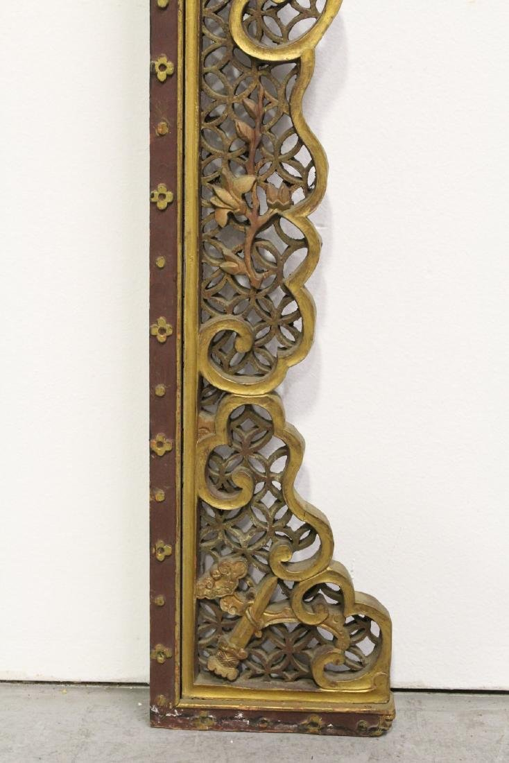 Chinese 19th c. gilt wood carved entry way ornament - 8