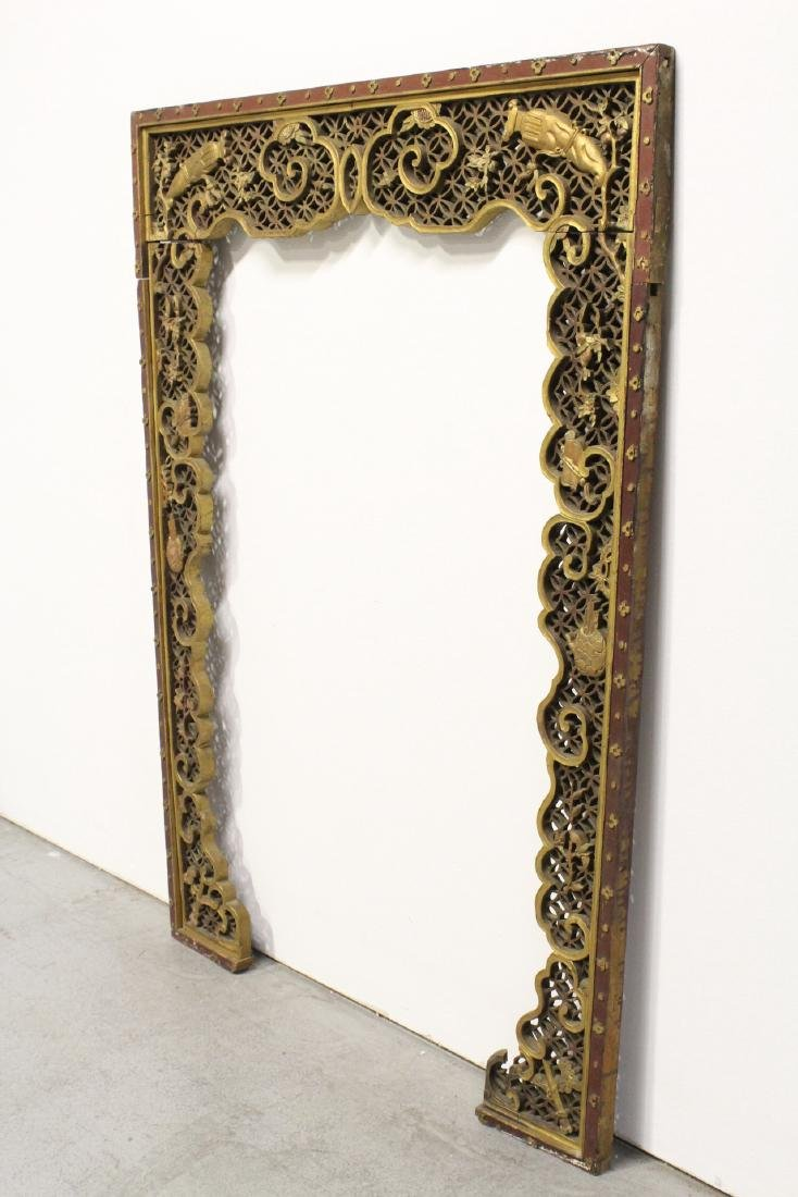 Chinese 19th c. gilt wood carved entry way ornament - 9