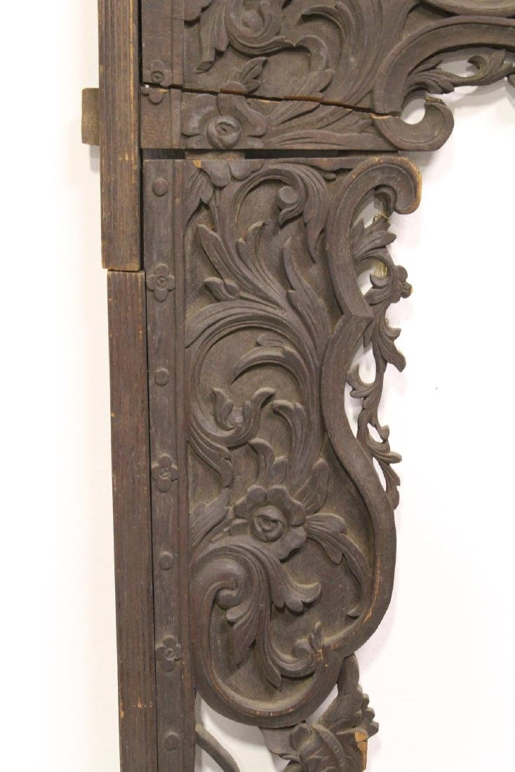 Chinese 19th c. wood carved entry way ornament - 7