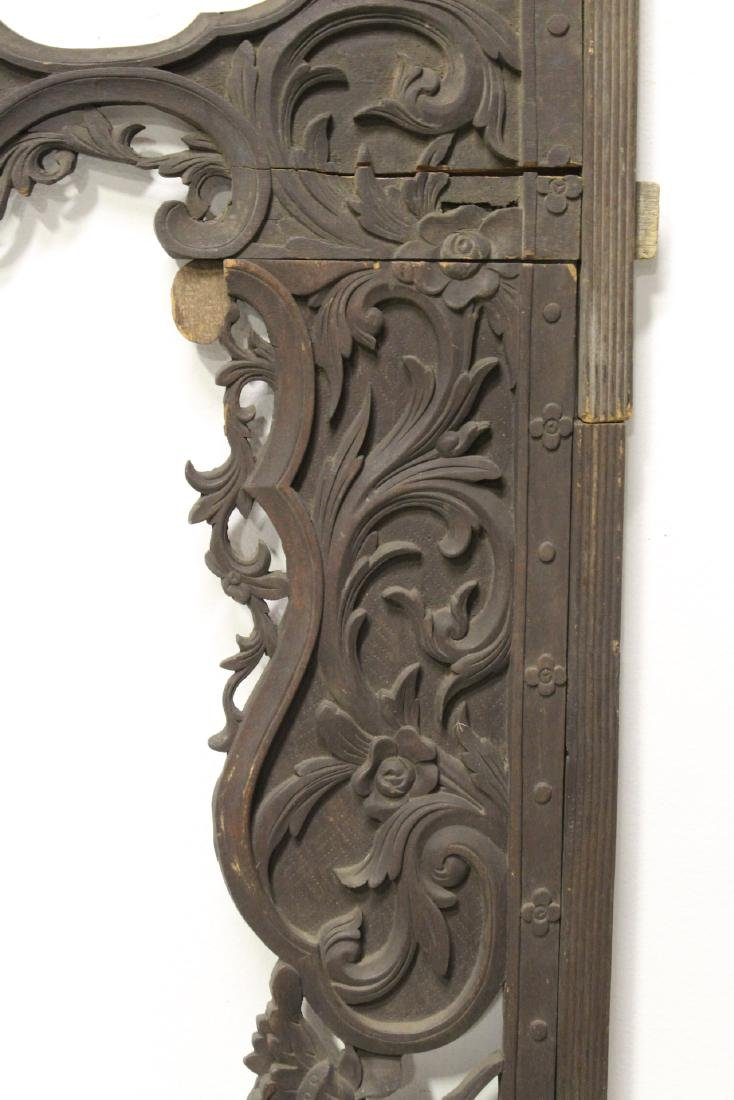 Chinese 19th c. wood carved entry way ornament - 8