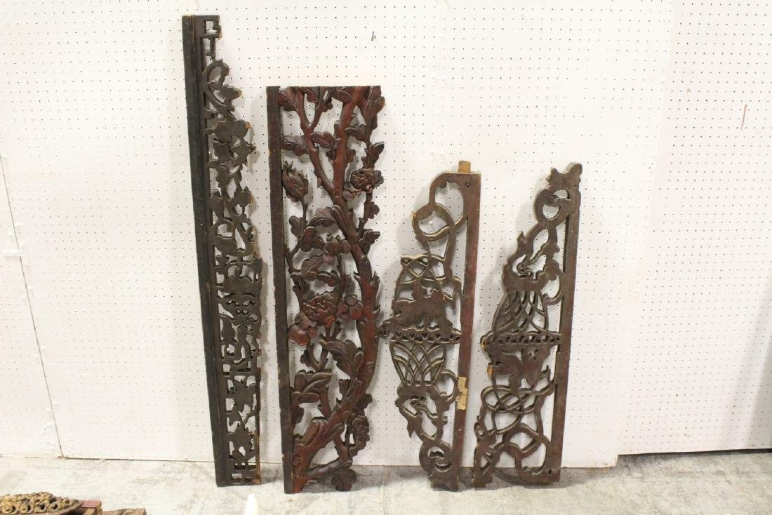 4 Chinese 19th c. wood carved wall ornaments - 10