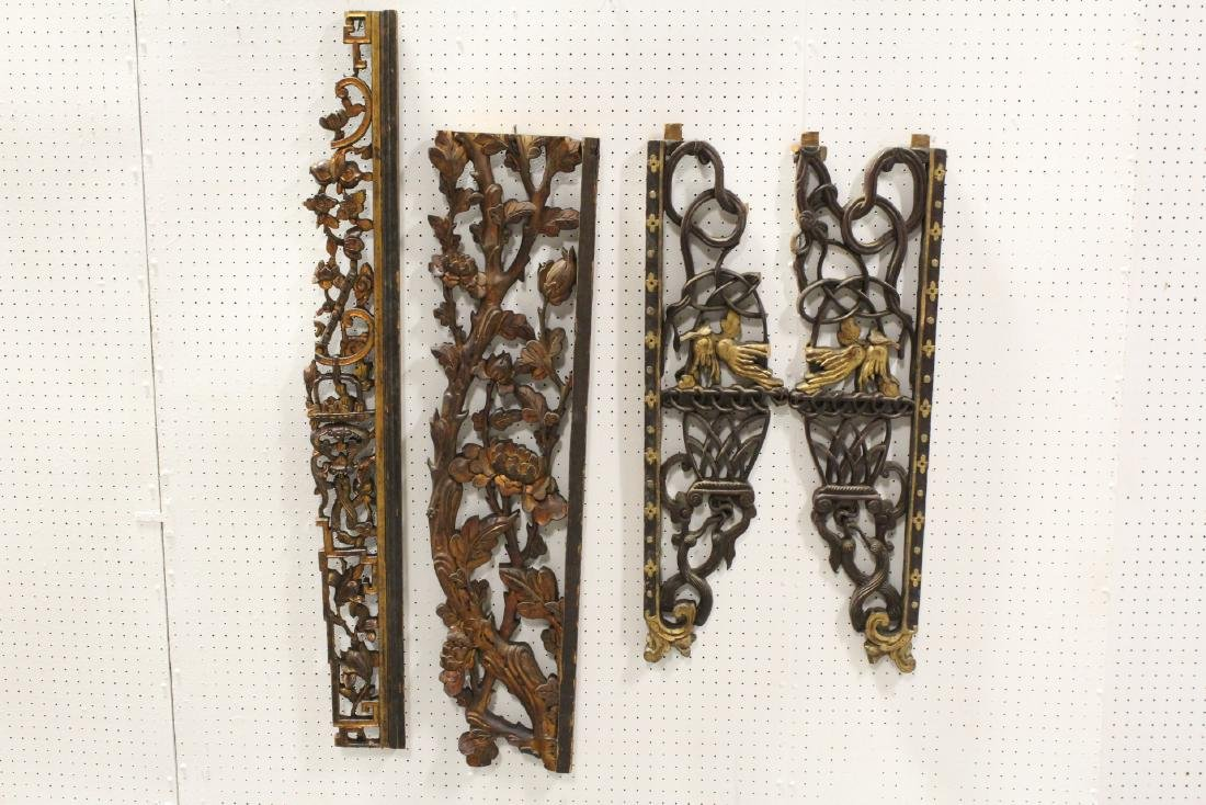 4 Chinese 19th c. wood carved wall ornaments