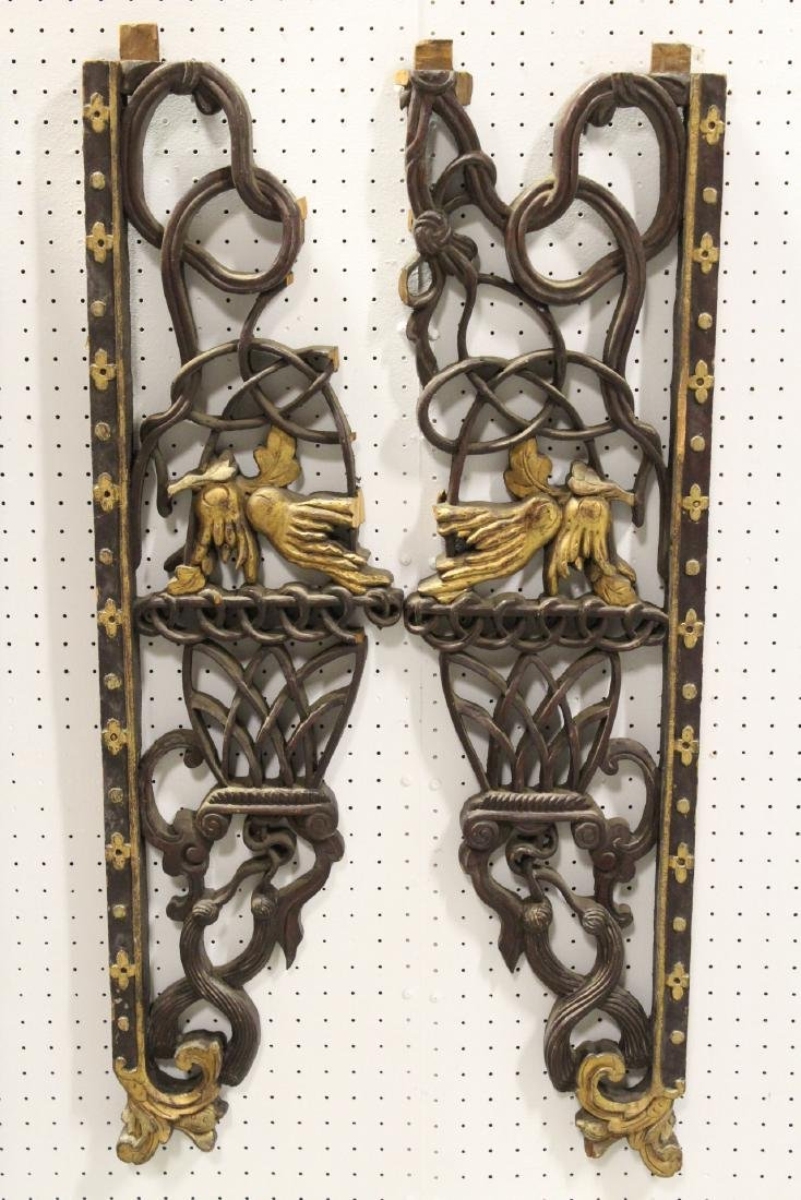 4 Chinese 19th c. wood carved wall ornaments - 2