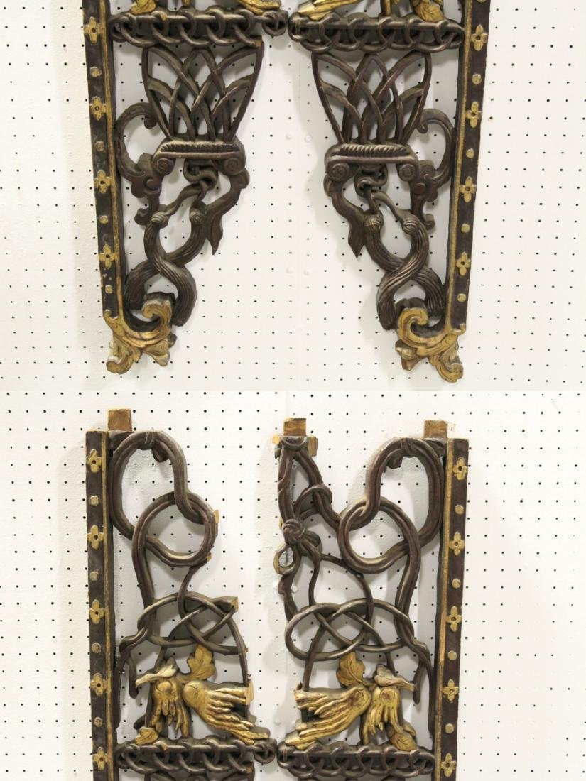 4 Chinese 19th c. wood carved wall ornaments - 3