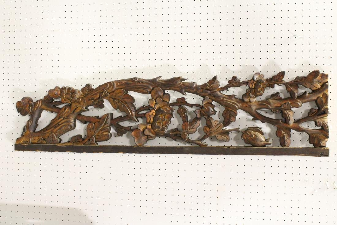 4 Chinese 19th c. wood carved wall ornaments - 5