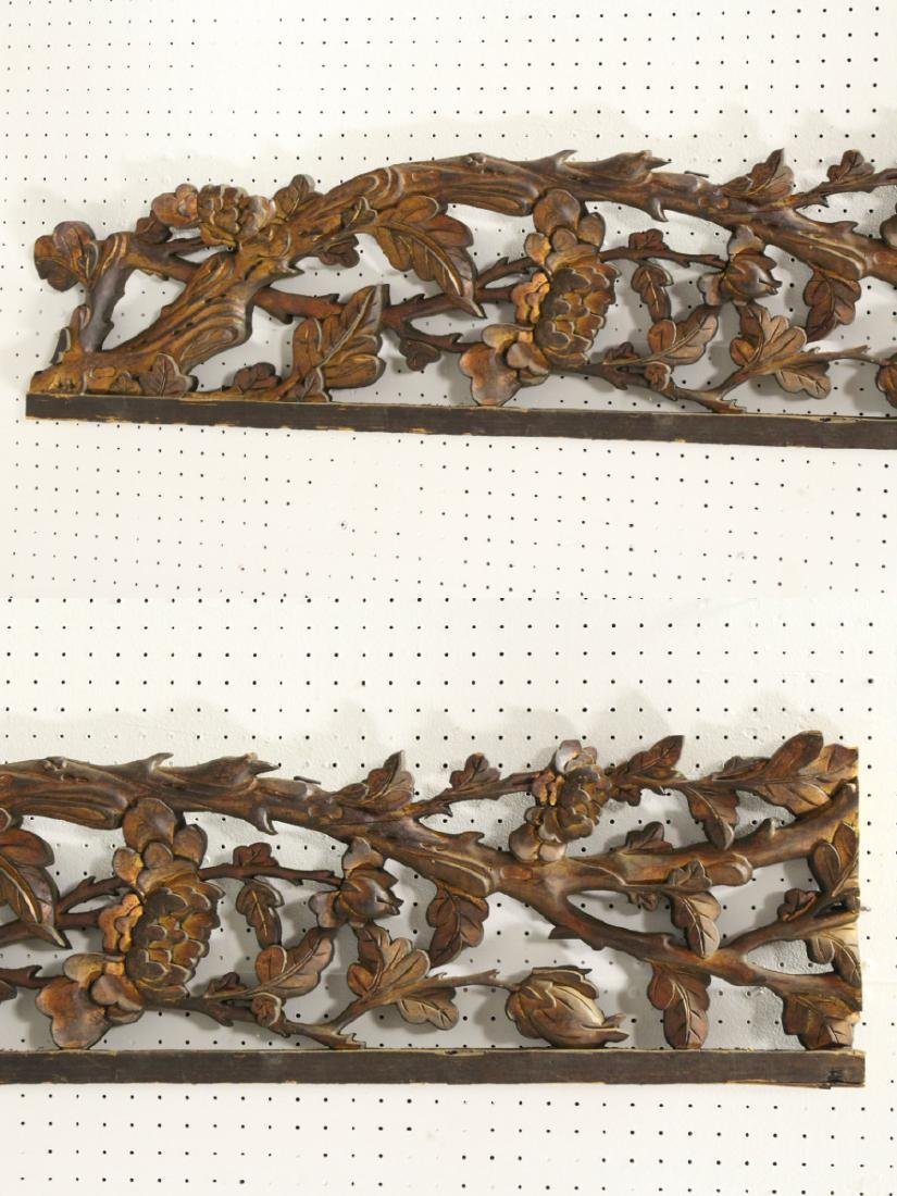 4 Chinese 19th c. wood carved wall ornaments - 6