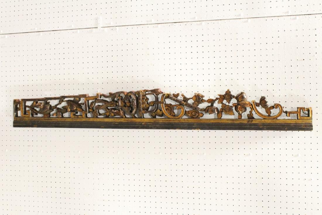 4 Chinese 19th c. wood carved wall ornaments - 7