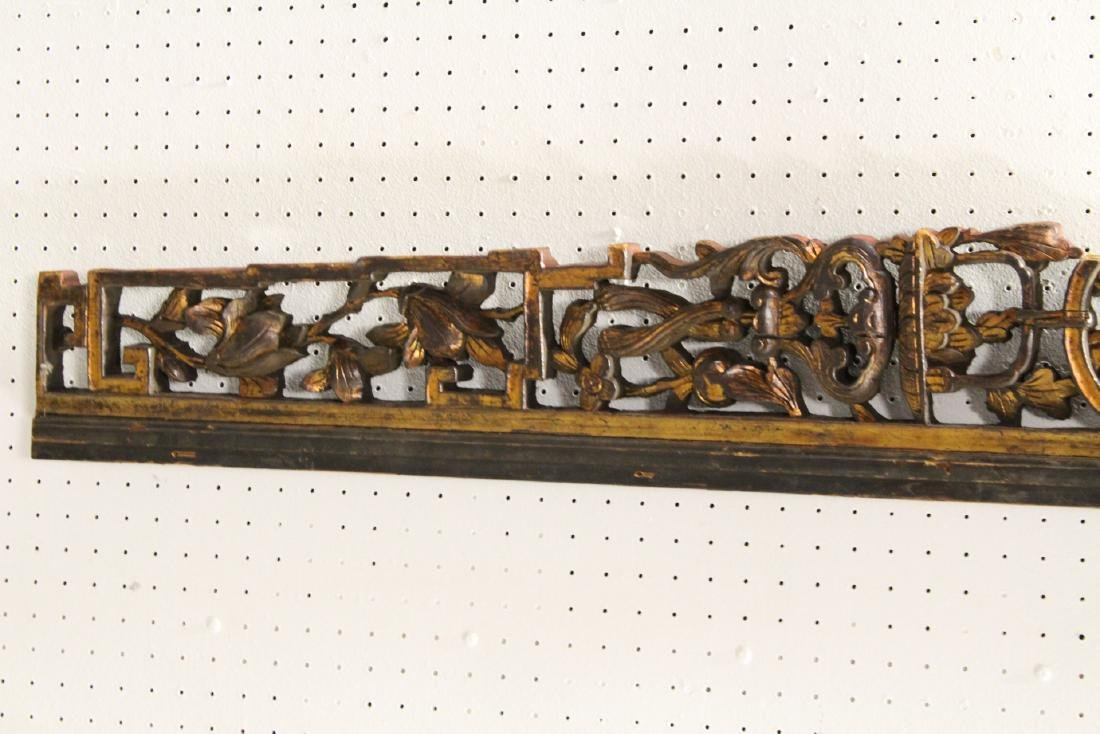 4 Chinese 19th c. wood carved wall ornaments - 8