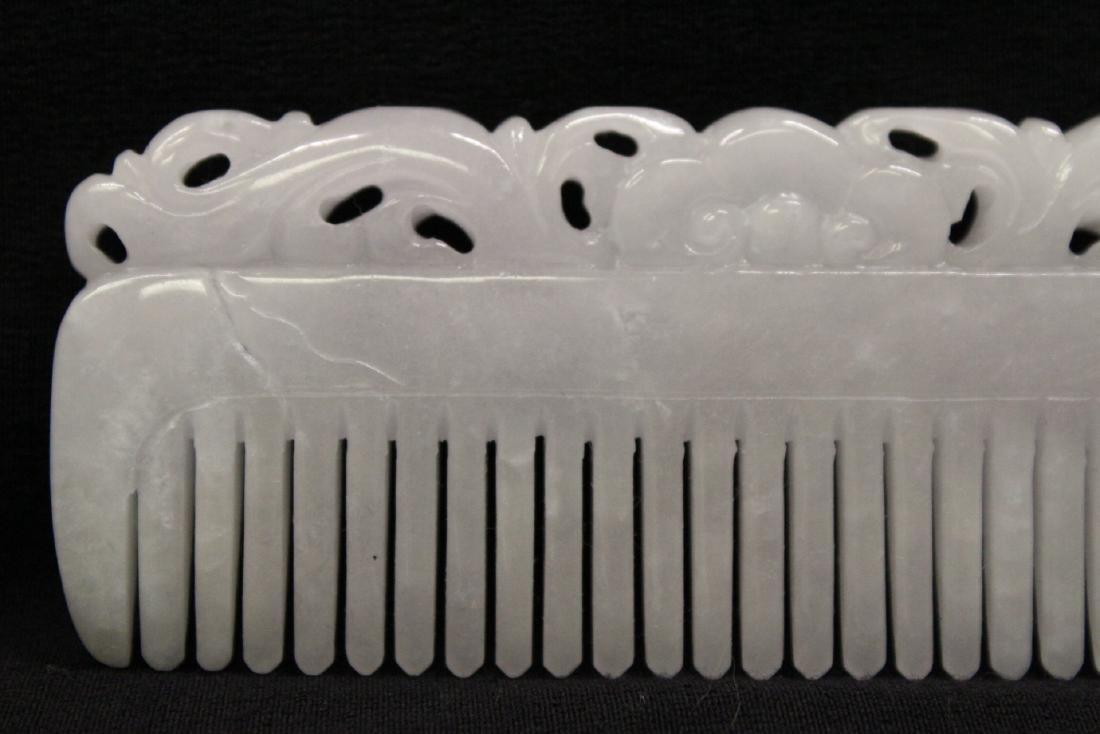 A translucent white jadeite carved comb - 2