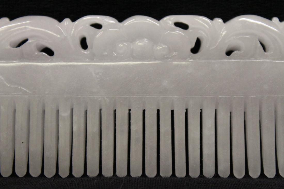 A translucent white jadeite carved comb - 4
