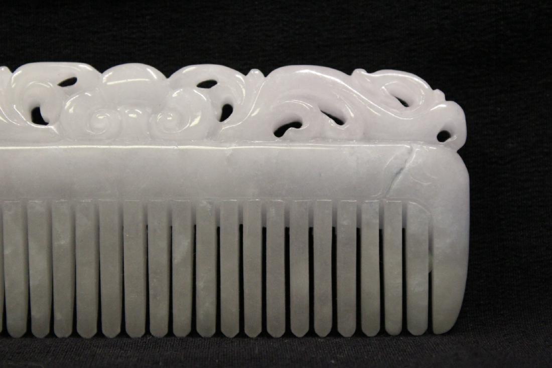 A translucent white jadeite carved comb - 9