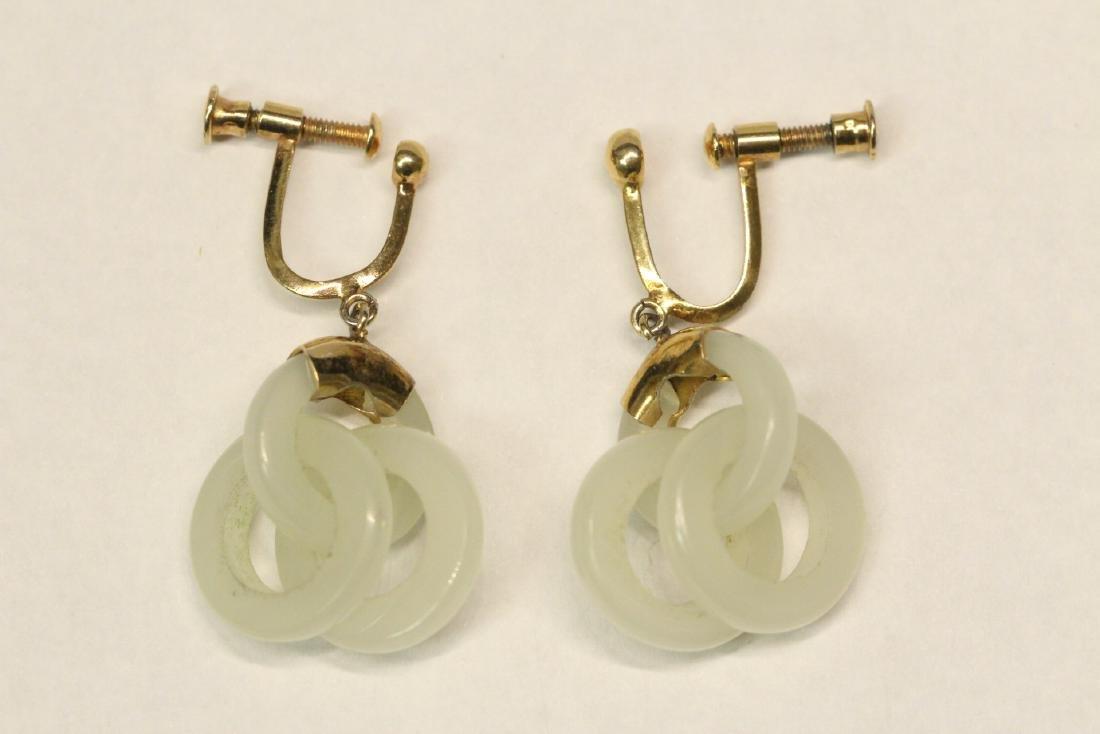 Pr jade earrings & a jade pendant with gilt silver - 2