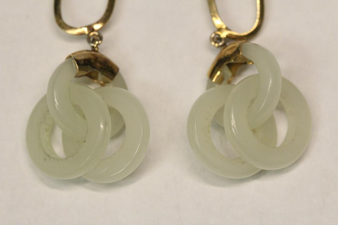 Pr jade earrings & a jade pendant with gilt silver - 3