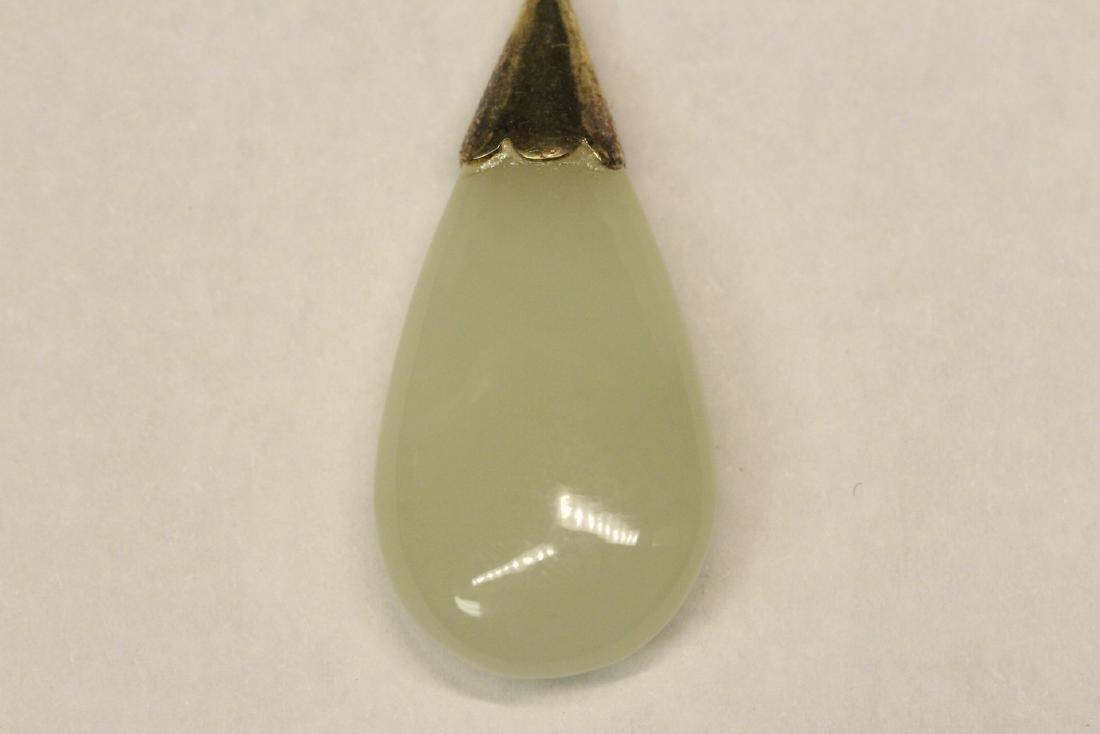 Pr jade earrings & a jade pendant with gilt silver - 8