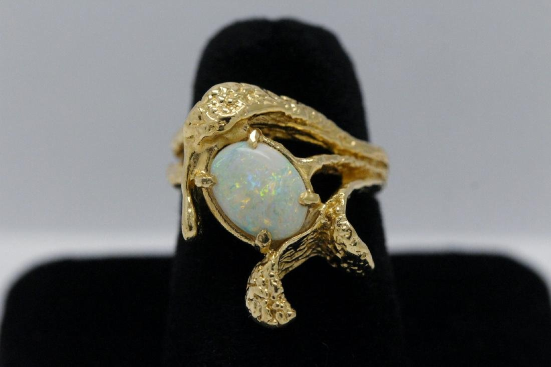 14K Y/G Australian fire opal ring