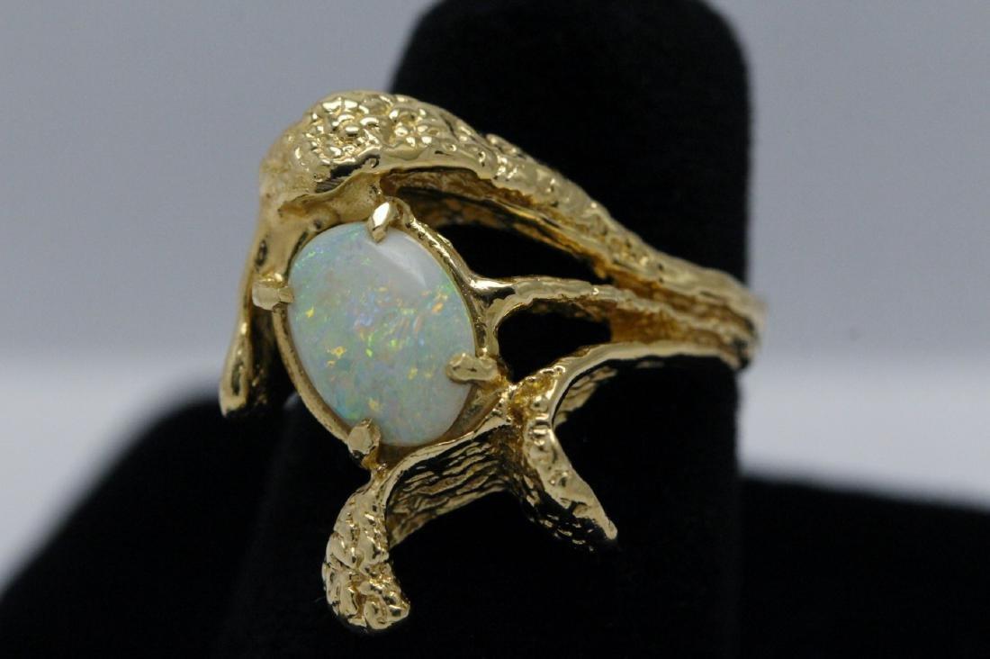 14K Y/G Australian fire opal ring - 2
