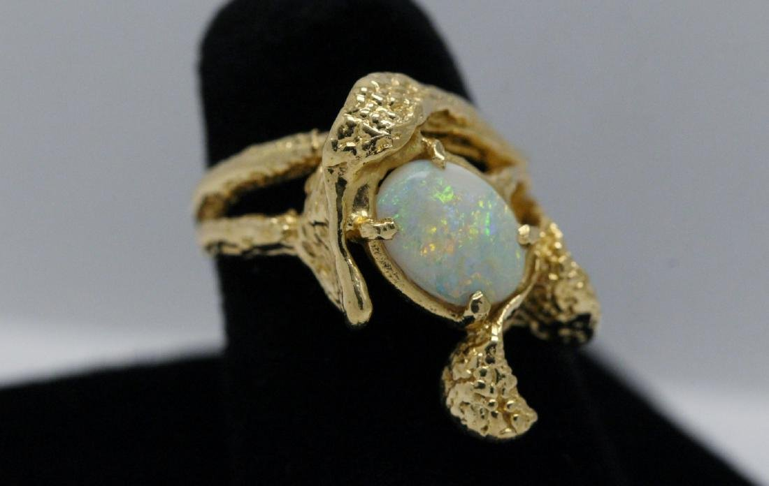 14K Y/G Australian fire opal ring - 3