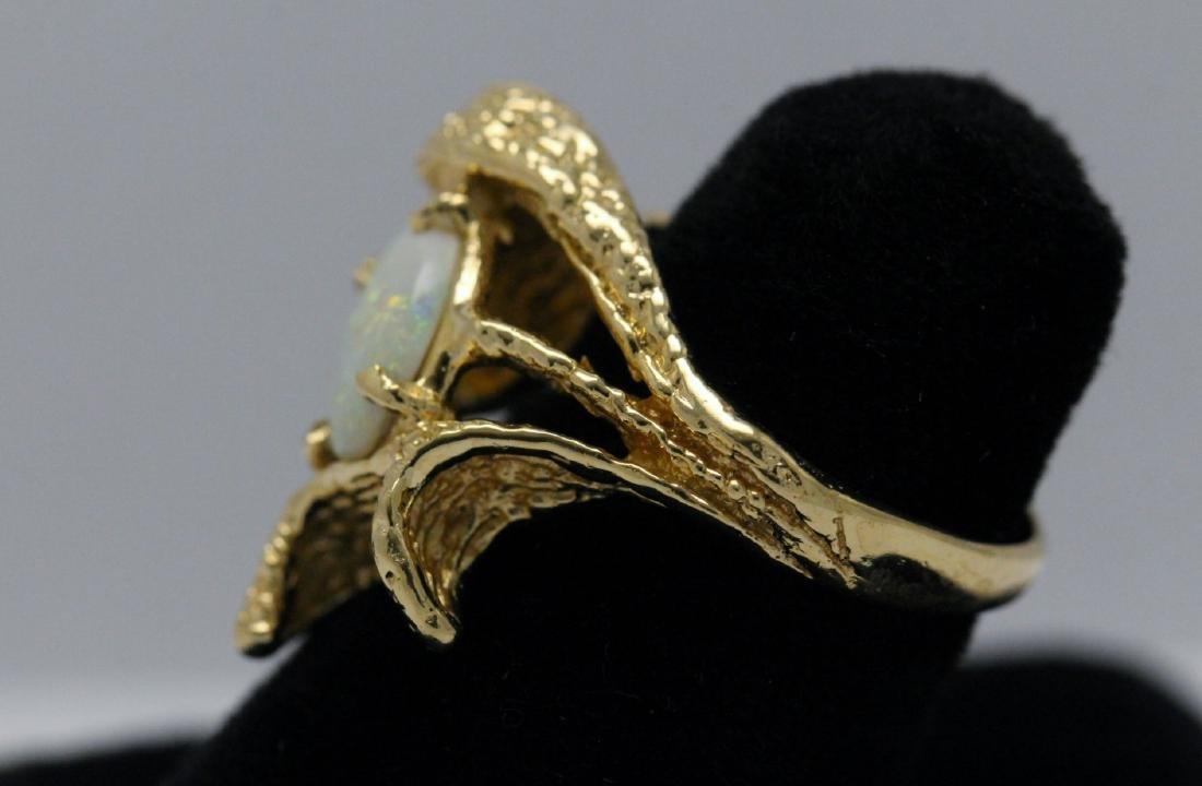 14K Y/G Australian fire opal ring - 5