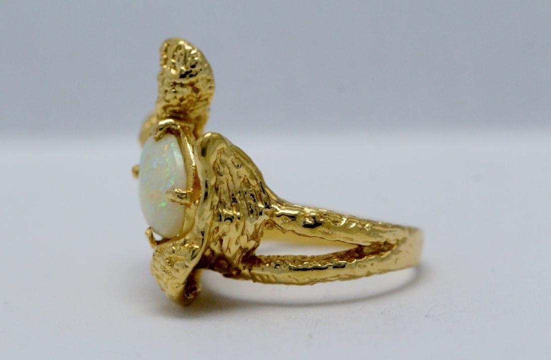14K Y/G Australian fire opal ring - 7