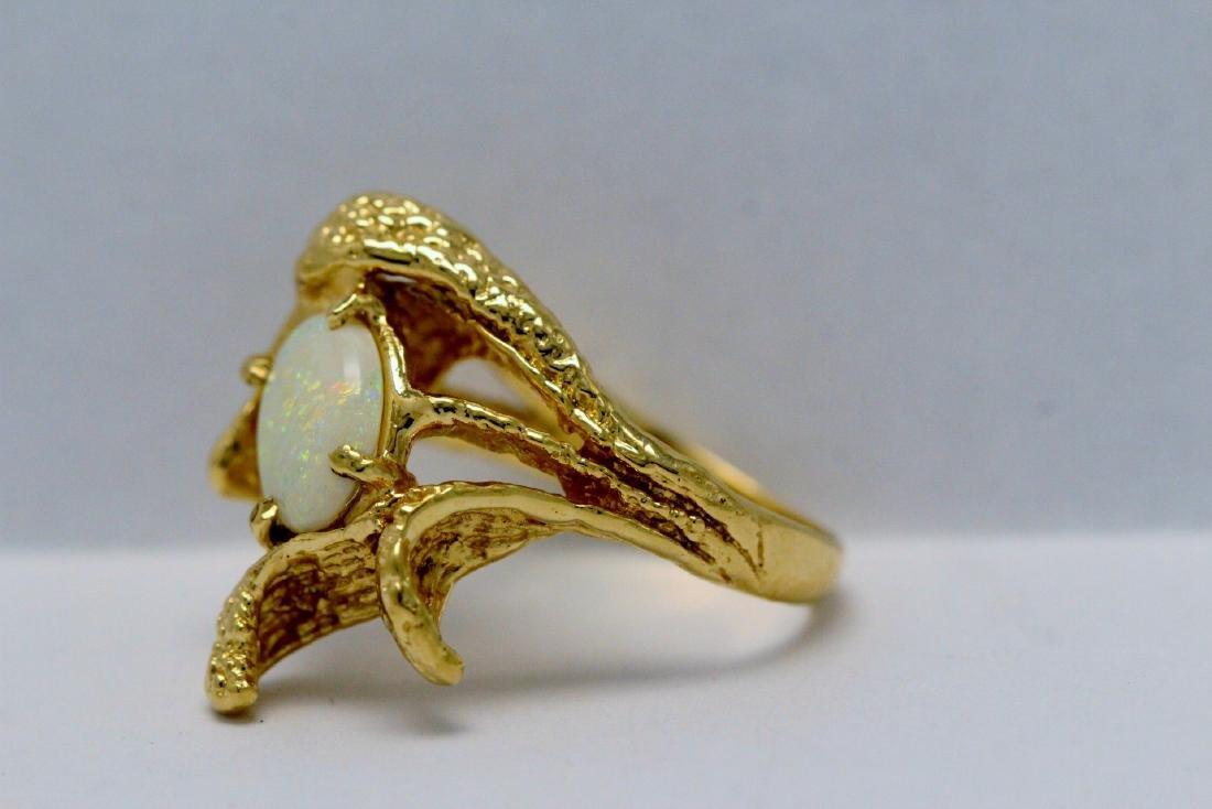 14K Y/G Australian fire opal ring - 8