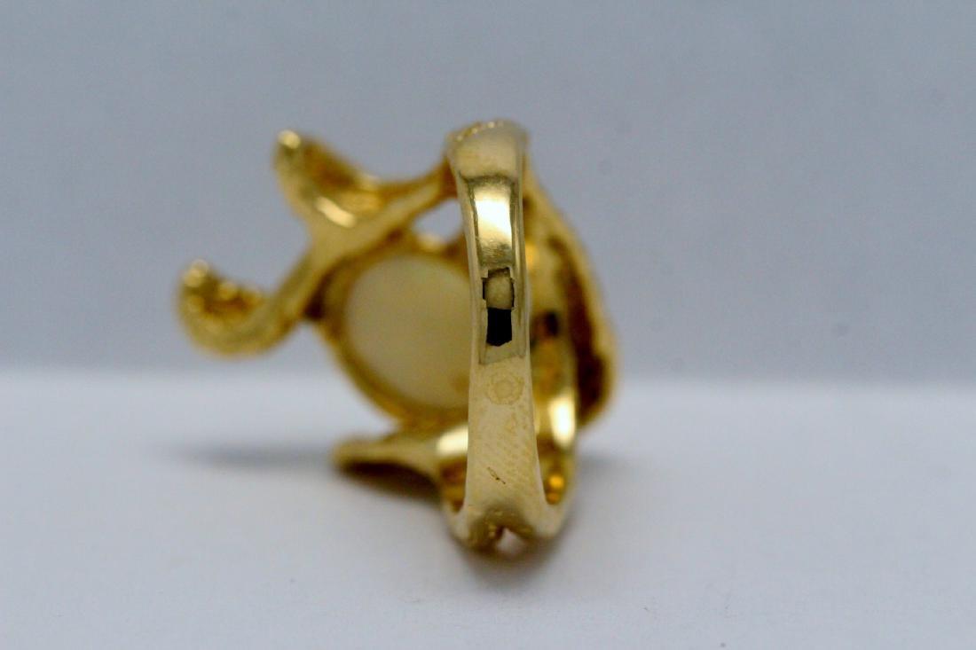 14K Y/G Australian fire opal ring - 9