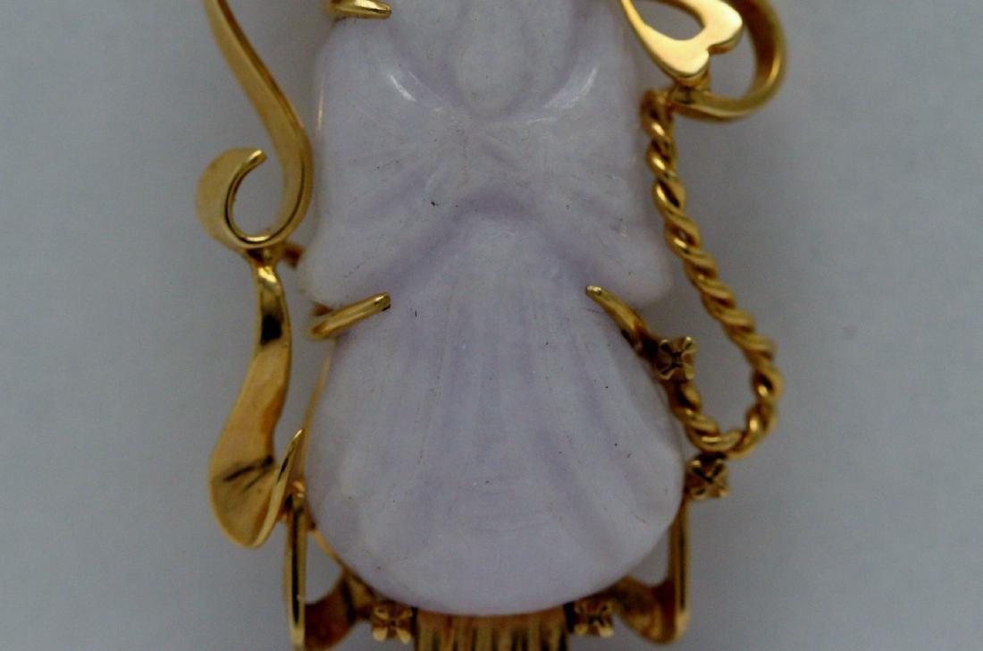 lavender jadeite carveing on 14K rose gold frame - 4