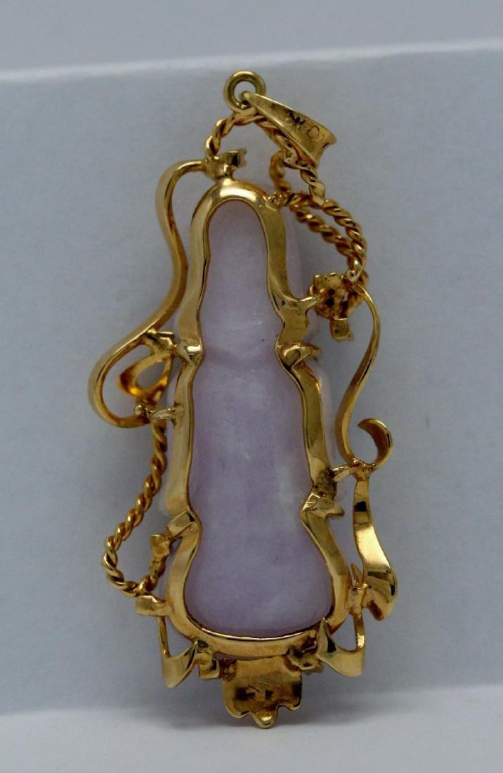 lavender jadeite carveing on 14K rose gold frame - 7