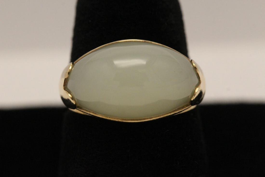 10K gold jade ring