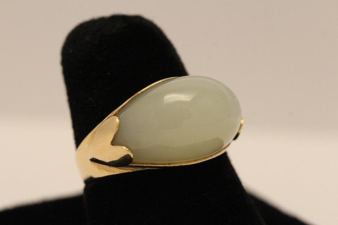 10K gold jade ring - 3