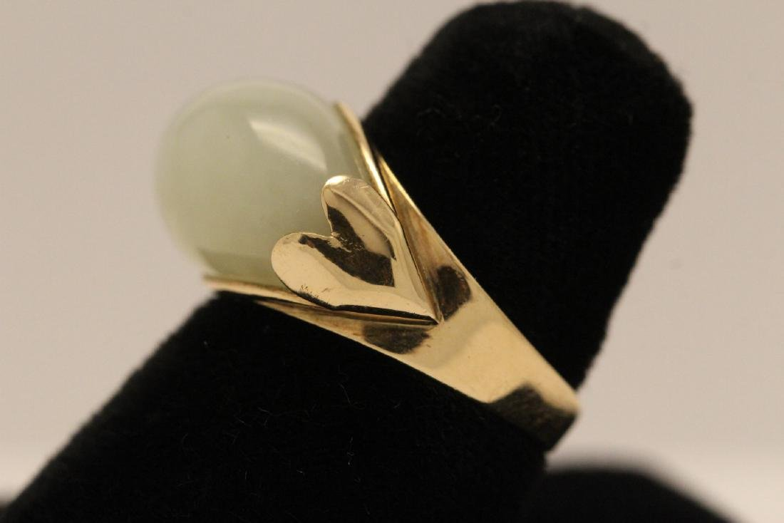 10K gold jade ring - 4