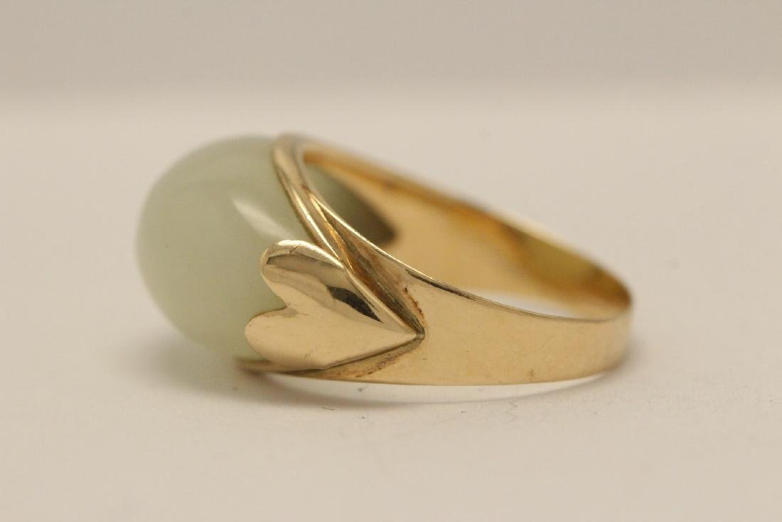 10K gold jade ring - 5