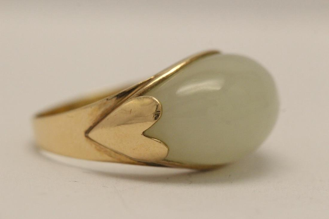 10K gold jade ring - 7
