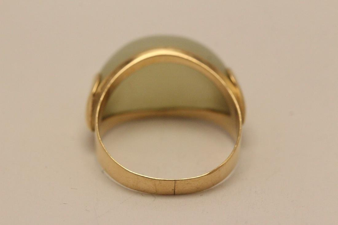 10K gold jade ring - 8