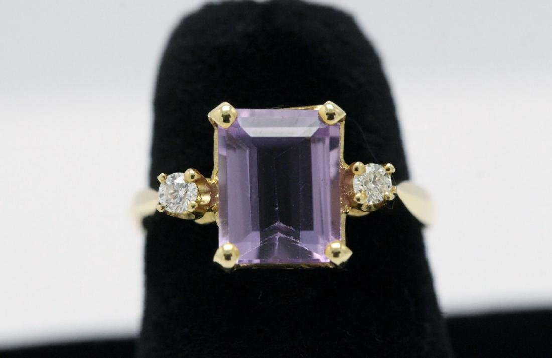 14K art deco style amethyst diamond ring