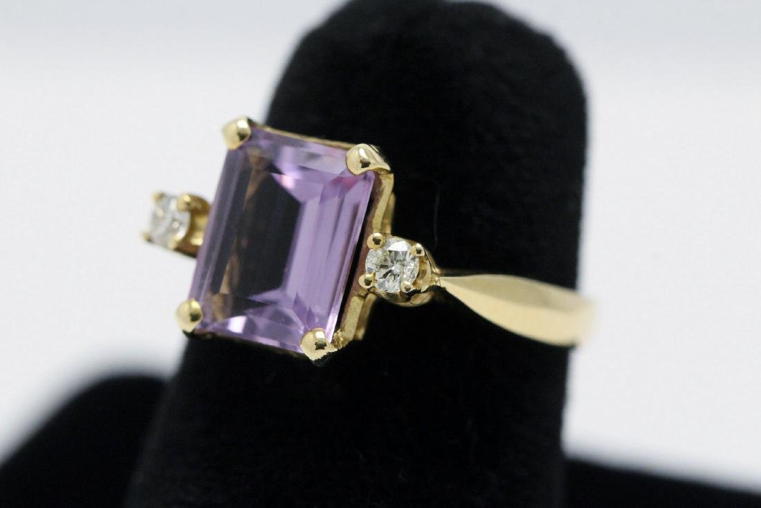 14K art deco style amethyst diamond ring - 2