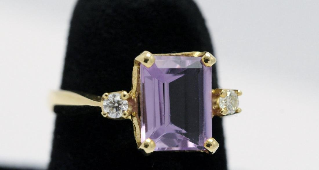 14K art deco style amethyst diamond ring - 3