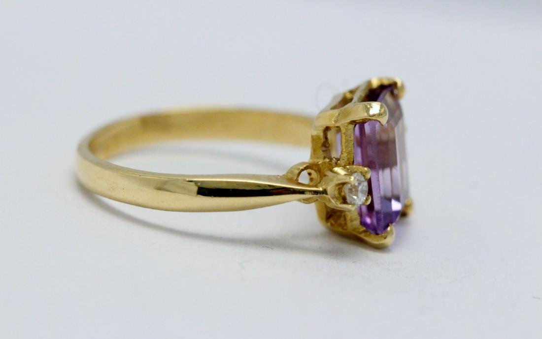 14K art deco style amethyst diamond ring - 5
