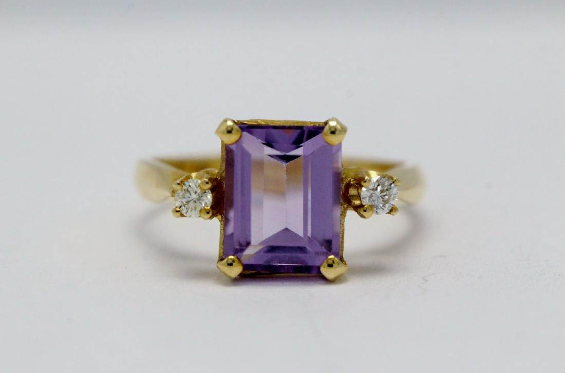 14K art deco style amethyst diamond ring - 7