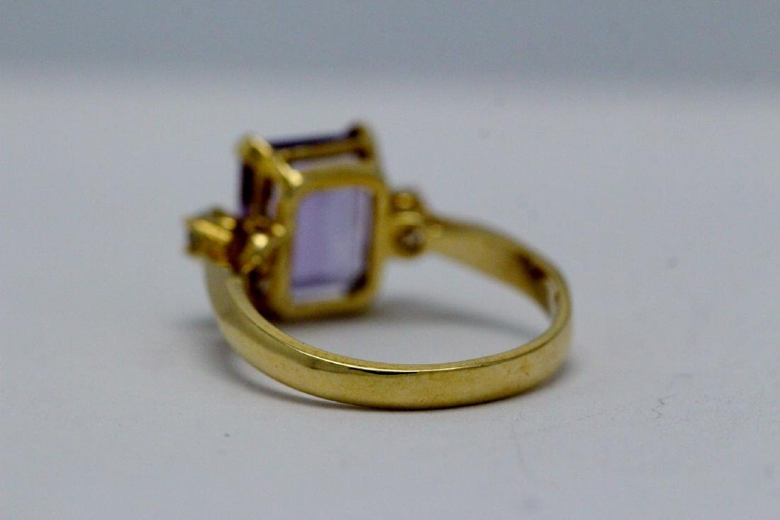 14K art deco style amethyst diamond ring - 8