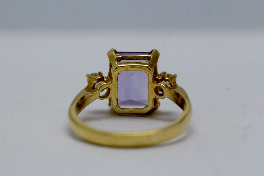 14K art deco style amethyst diamond ring - 9