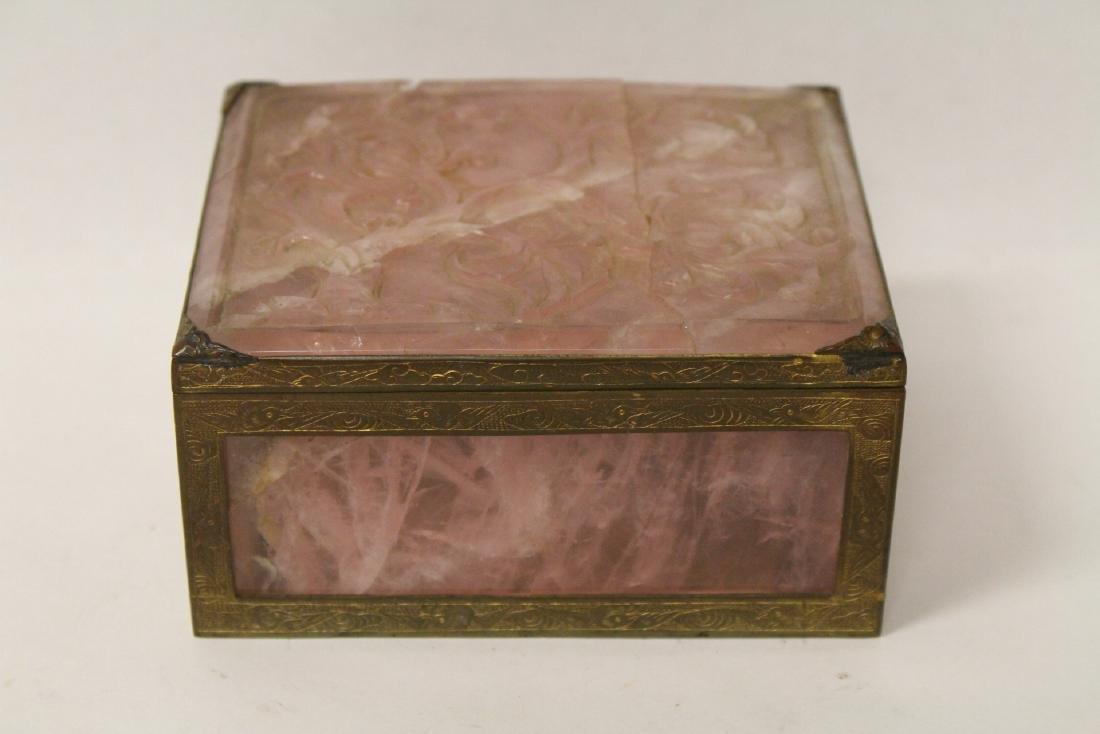 A rare Chinese rose quartz box with gilt bronze frame - 2
