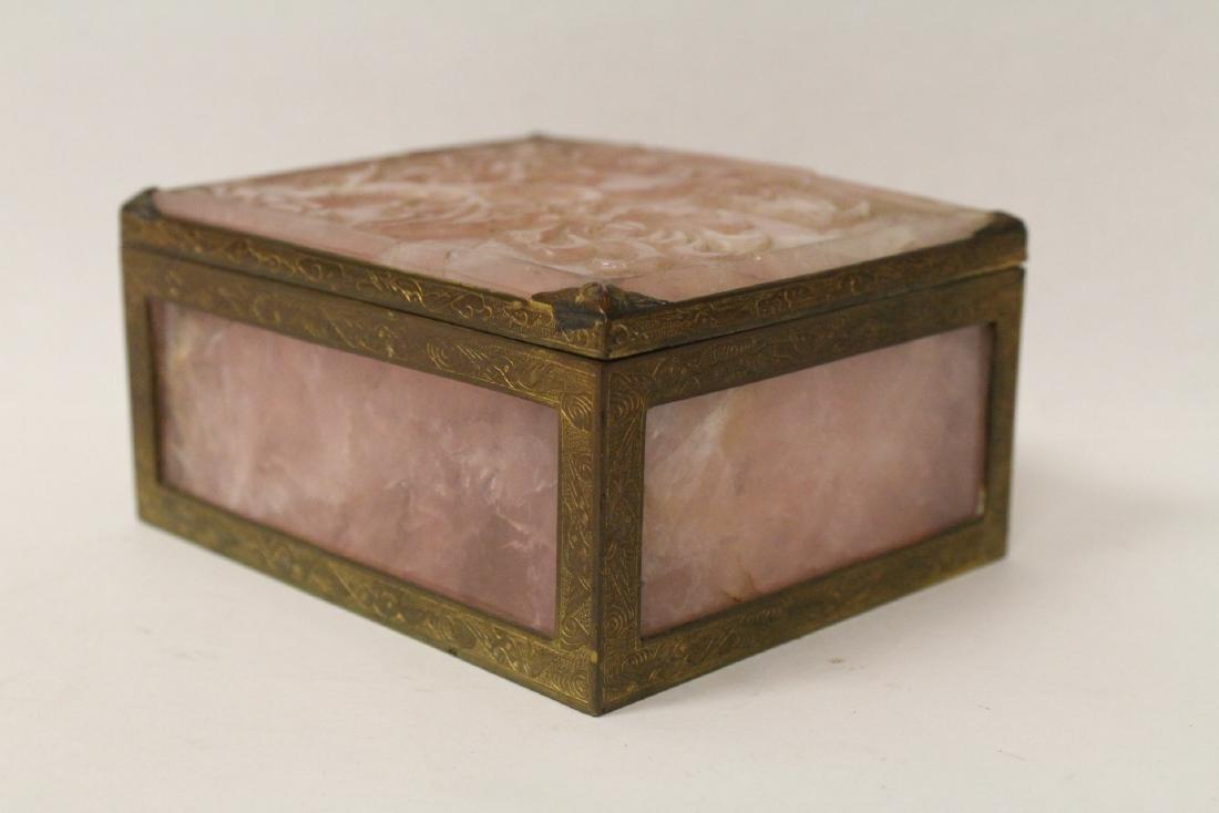 A rare Chinese rose quartz box with gilt bronze frame - 3