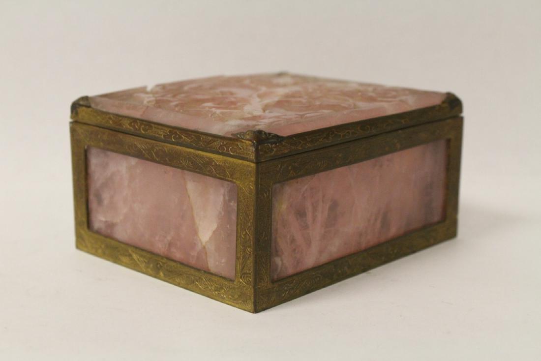 A rare Chinese rose quartz box with gilt bronze frame - 4