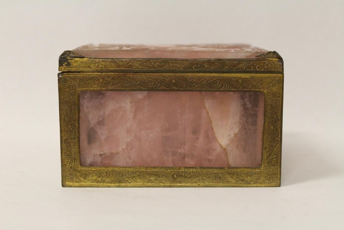 A rare Chinese rose quartz box with gilt bronze frame - 5