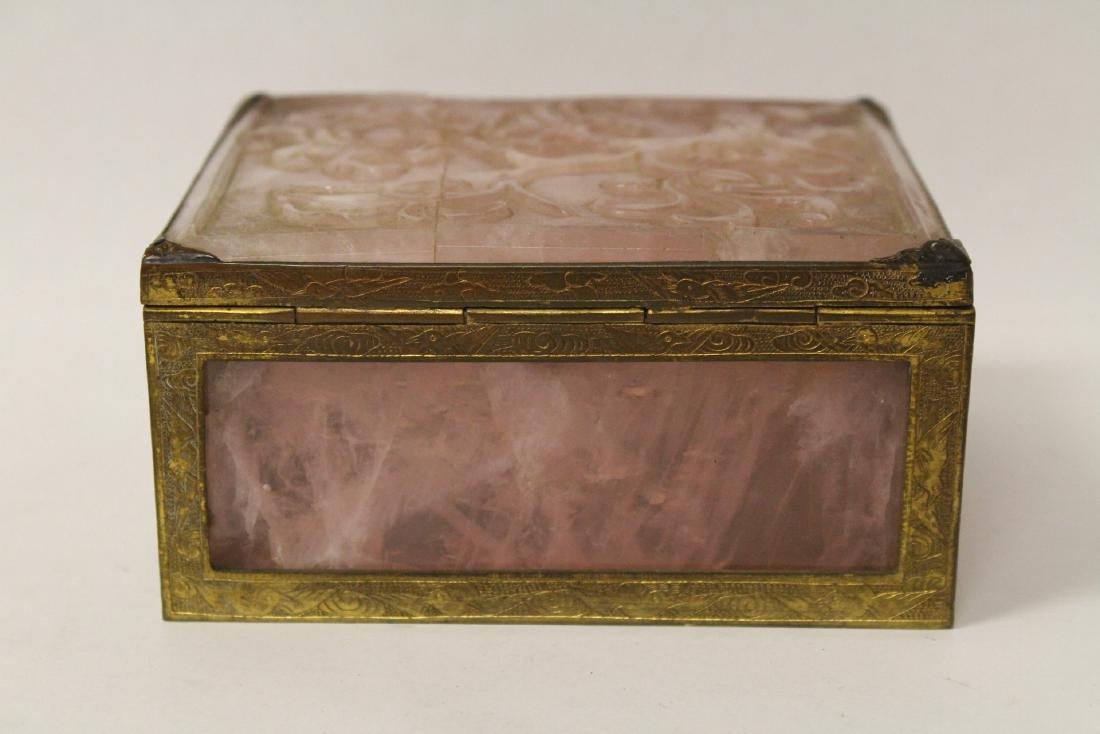 A rare Chinese rose quartz box with gilt bronze frame - 6