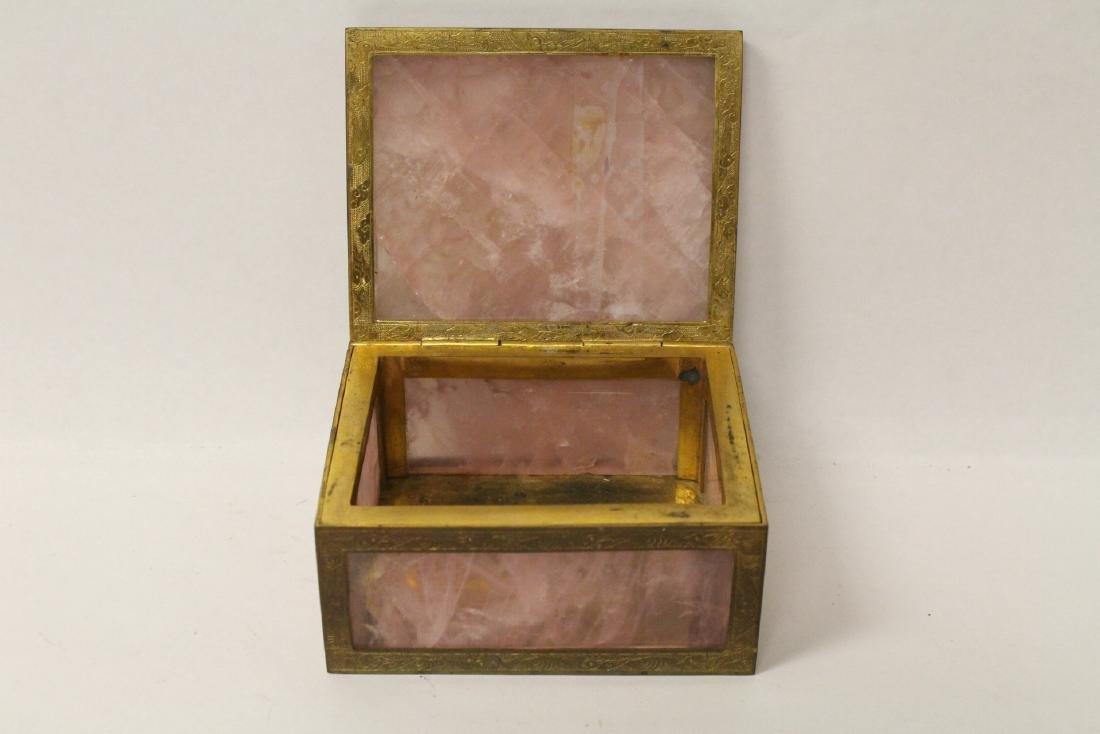A rare Chinese rose quartz box with gilt bronze frame - 7