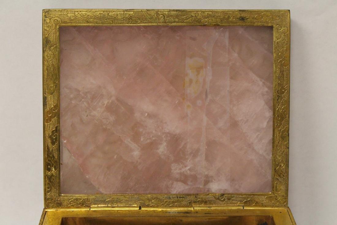 A rare Chinese rose quartz box with gilt bronze frame - 8