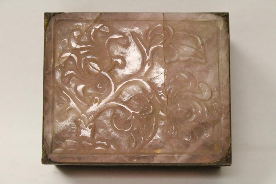 A rare Chinese rose quartz box with gilt bronze frame - 9